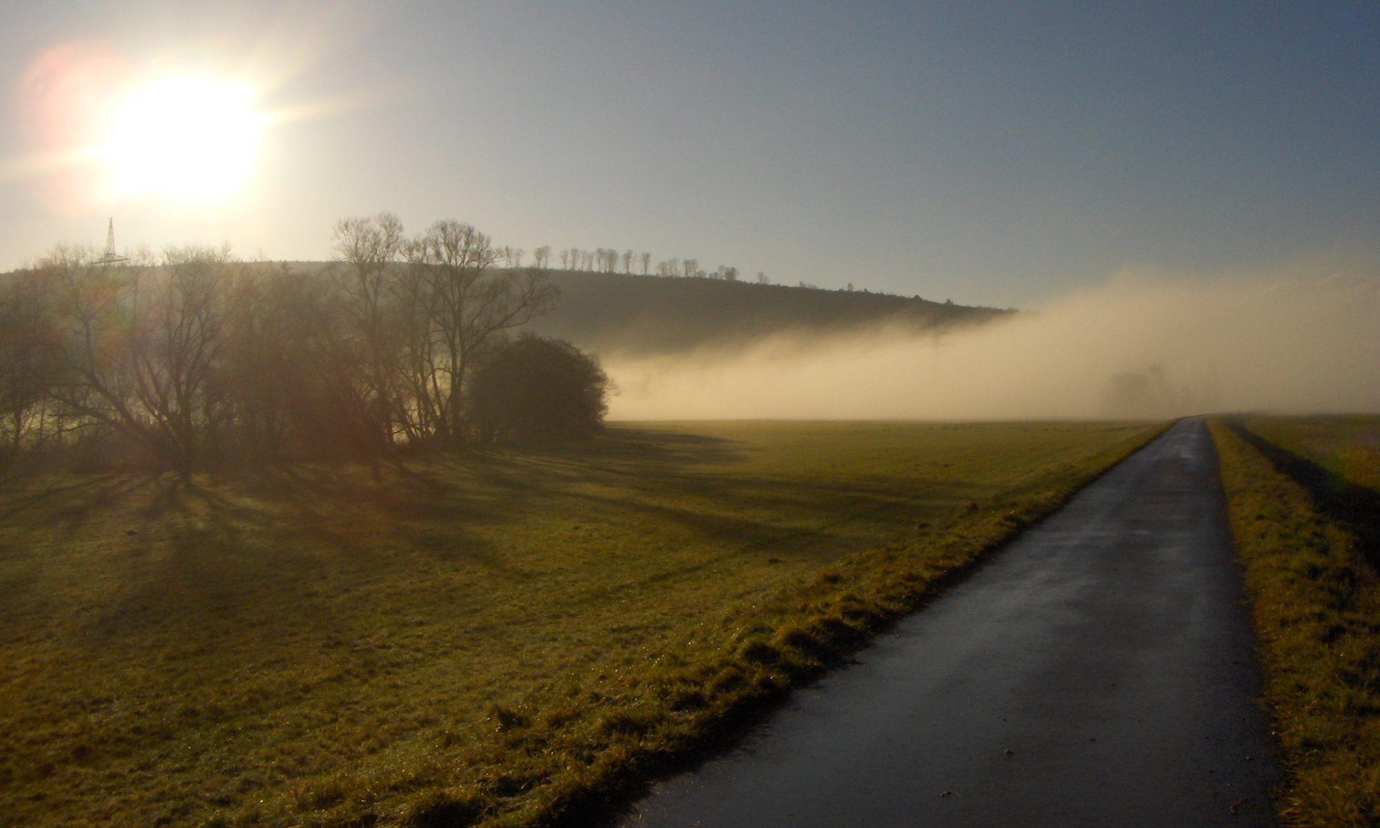 Weg verschwindet im Nebel